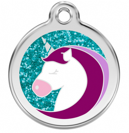 Red Dingo Dog Tag Glitter Unicorn